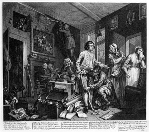 A Rake's Progress, Plate 1: The Young Heir Takes Possession Of The Miser's Effects by William Hogarth
